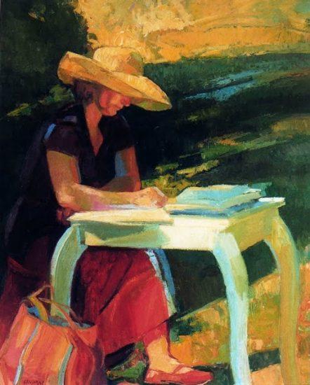 Agnès écrivant - 81 x 65 cm - collection particulière