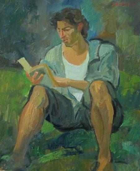 Damien lisant Jean Prévost - 27 x 22 cm