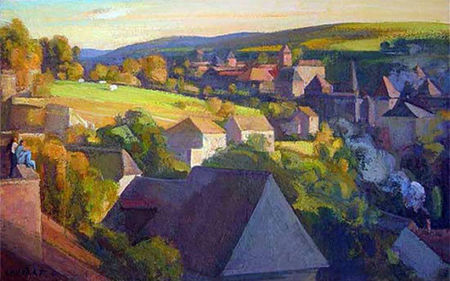Le soir à Treignac - 38 x 61 cm - collection particulière