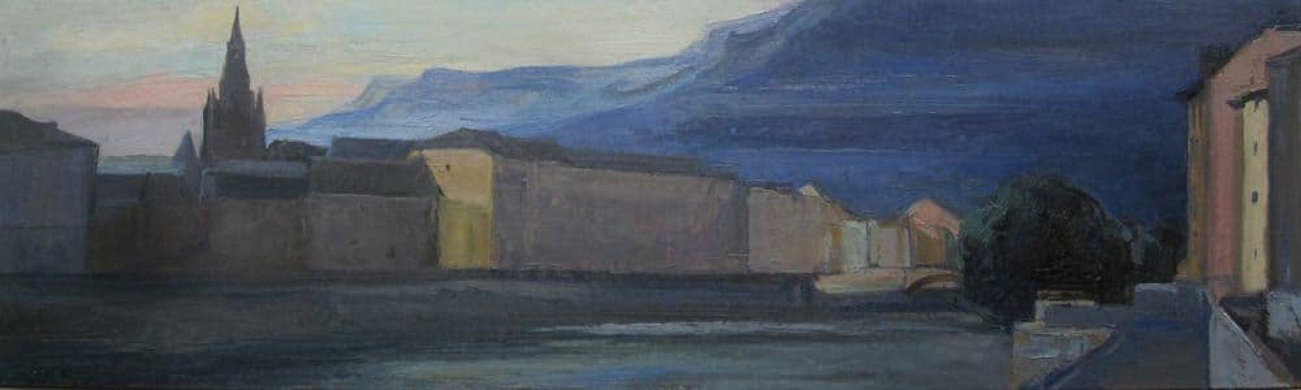 Grenoble, temps gris - 15 x 50 cm - collection particulière