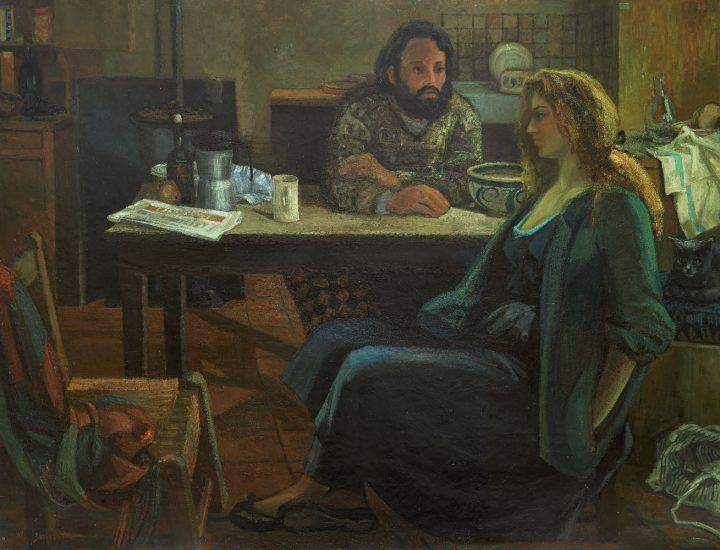 Le soir à Moret (Huile sur toile) - 150 x 200 cm