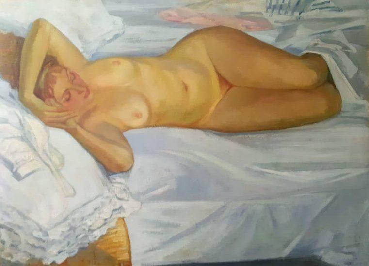 Le lit (Huile sur toile) - 97 x 130 cm