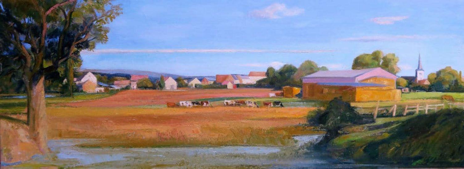 Le retour des champs (Huile sur toile) - 63 x 170cm