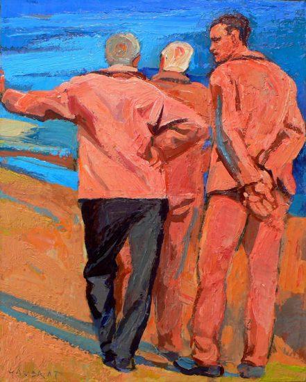 Les Pécheurs (Huile sur toile) - 24 x 19 cm - collection particulière