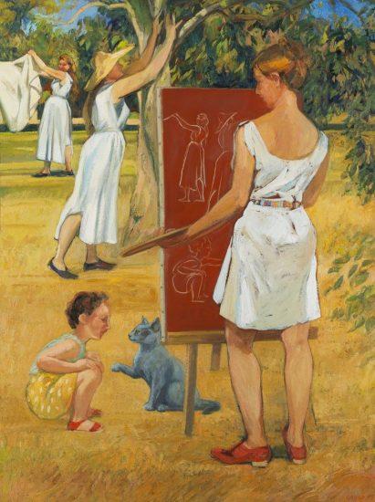 Composer au jardin (huile sur toile) - 130 x 89 cm