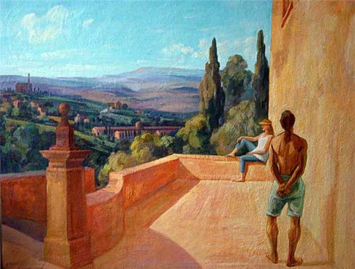 La terrasse à Volterra - 81 x 116 cm - collection particulière