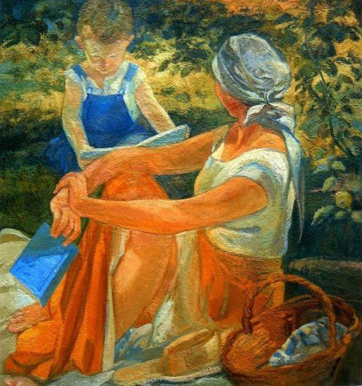 L'enfance, après-midi à Nogent - 100 x 100 cm - collection particulière