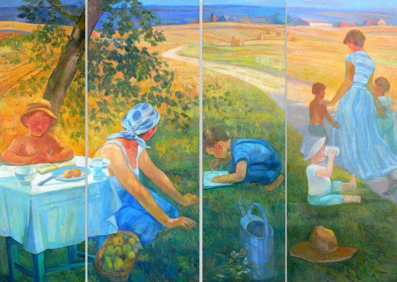 L'Enfance - Quadriptyque - 162 x 220 cm