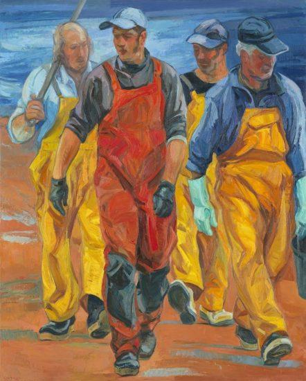 Les marins pêcheurs (huile sur toile) - 162 x 130 cm
