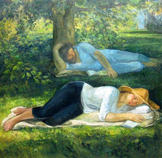 Le jardin (huile sur toile) - 150 x 150 cm - collection particulière
