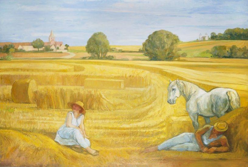 La moisson en touraine (huile sur toile) - 140 x 210 cm