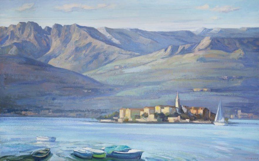 L'île des pêcheurs Lac Majeur (huile sur toile) - 97 x 146 cm