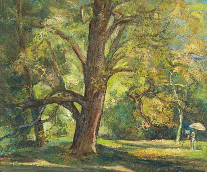 Le peintre et l'arbre (huile sur bois) - 46 x 38 cm