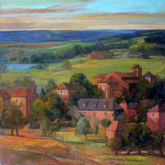 Le village, le soir - 100 x 100 cm